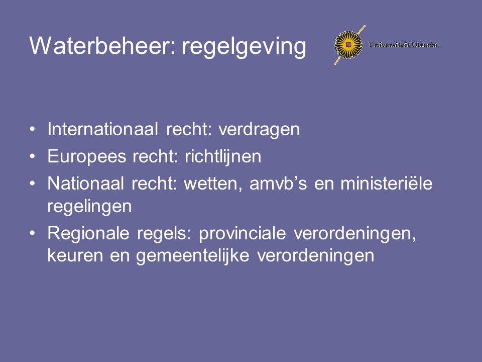 Waterbeheer: regelgeving Internationaal recht: verdragen Europees recht: richtlijnen Nationaal recht: wetten, amvb's en ministeriële regelingen Region