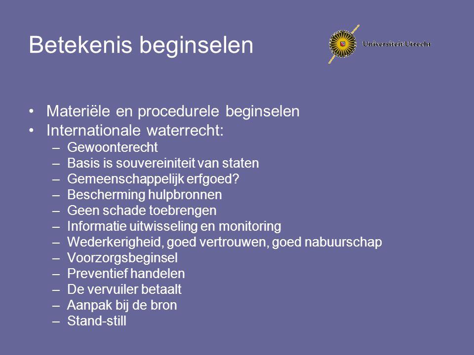 Betekenis beginselen Materiële en procedurele beginselen Internationale waterrecht: –Gewoonterecht –Basis is souvereiniteit van staten –Gemeenschappel