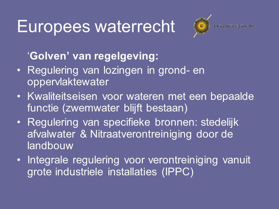 Europees waterrecht 'Golven' van regelgeving: Regulering van lozingen in grond- en oppervlaktewater Kwaliteitseisen voor wateren met een bepaalde func