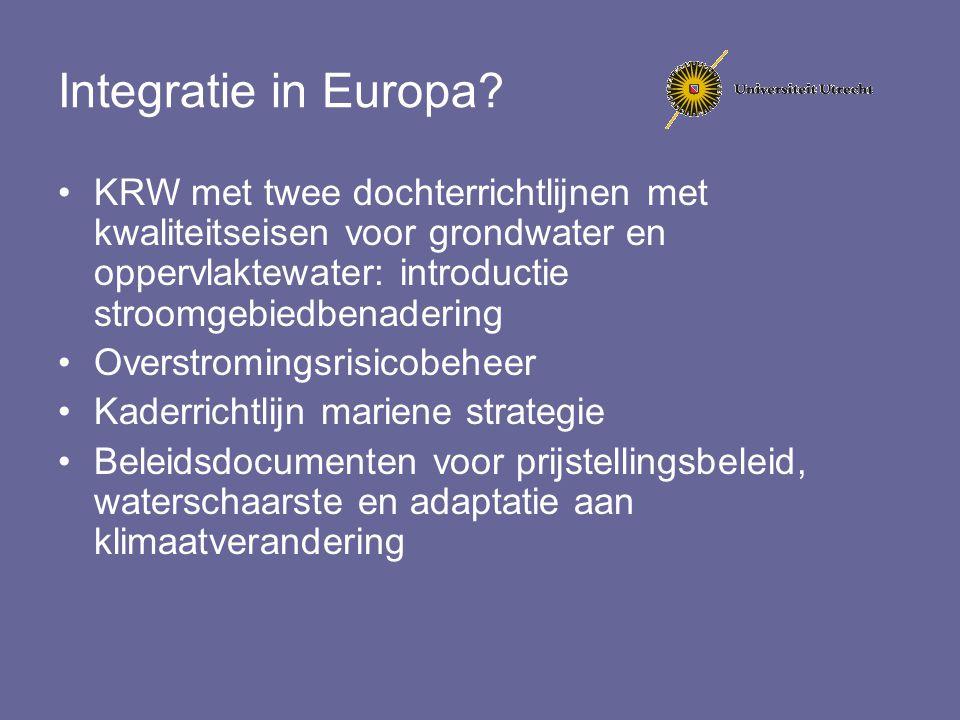 Integratie in Europa? KRW met twee dochterrichtlijnen met kwaliteitseisen voor grondwater en oppervlaktewater: introductie stroomgebiedbenadering Over