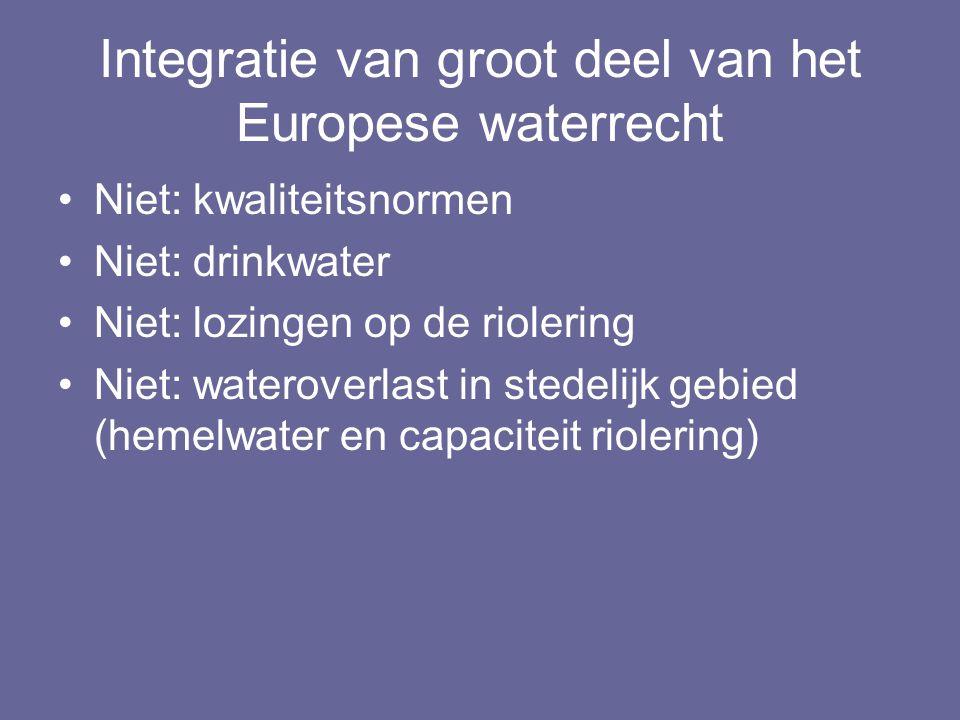 Integratie van groot deel van het Europese waterrecht Niet: kwaliteitsnormen Niet: drinkwater Niet: lozingen op de riolering Niet: wateroverlast in st