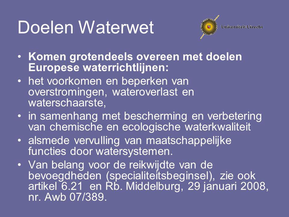 Doelen Waterwet Komen grotendeels overeen met doelen Europese waterrichtlijnen: het voorkomen en beperken van overstromingen, wateroverlast en watersc