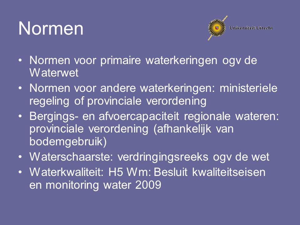 Normen Normen voor primaire waterkeringen ogv de Waterwet Normen voor andere waterkeringen: ministeriele regeling of provinciale verordening Bergings-