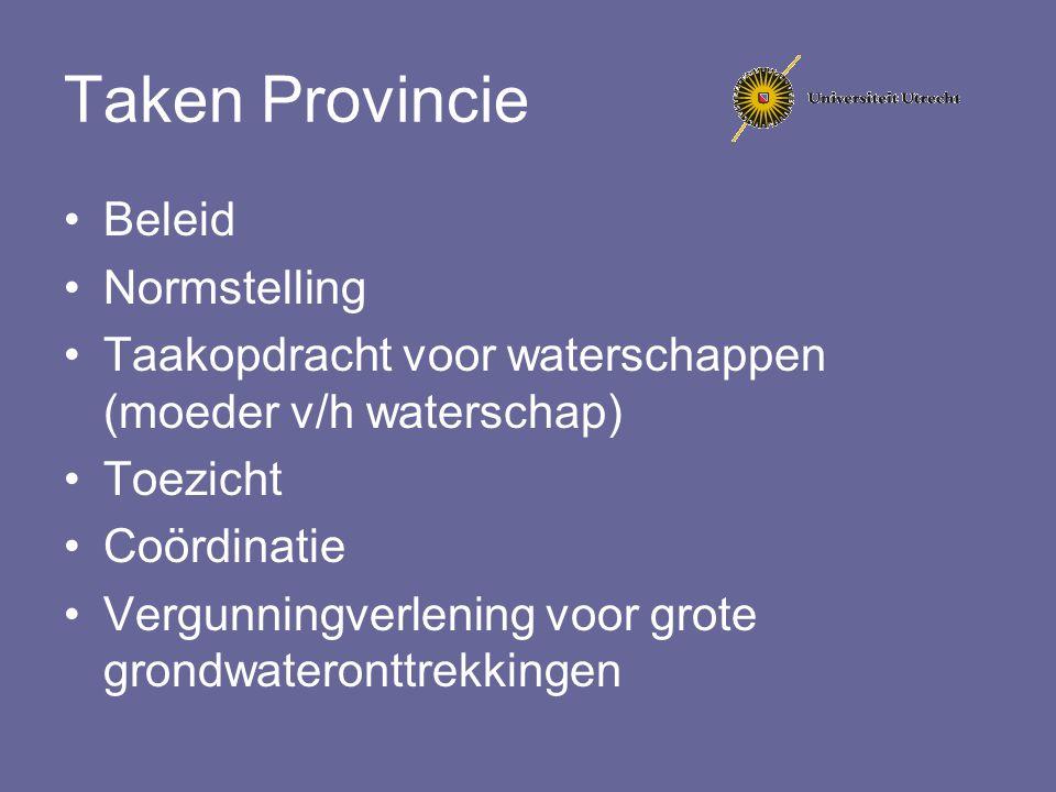 Taken Provincie Beleid Normstelling Taakopdracht voor waterschappen (moeder v/h waterschap) Toezicht Coördinatie Vergunningverlening voor grote grondw