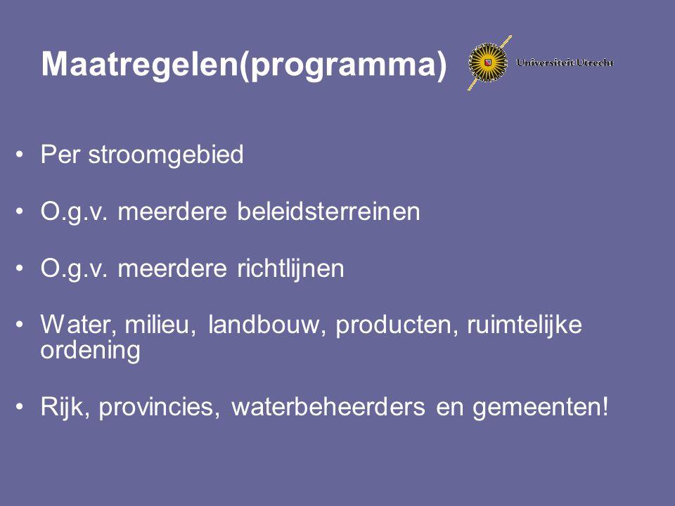 Maatregelen(programma) Per stroomgebied O.g.v. meerdere beleidsterreinen O.g.v. meerdere richtlijnen Water, milieu, landbouw, producten, ruimtelijke o