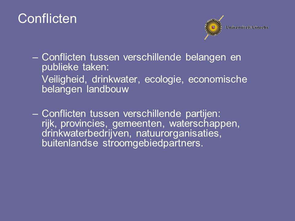 Conflicten –Conflicten tussen verschillende belangen en publieke taken: Veiligheid, drinkwater, ecologie, economische belangen landbouw –Conflicten tu
