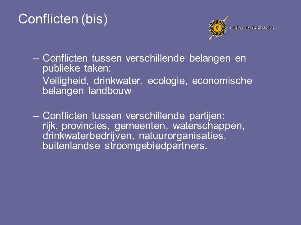 Conflicten (bis) –Conflicten tussen verschillende belangen en publieke taken: Veiligheid, drinkwater, ecologie, economische belangen landbouw –Conflic