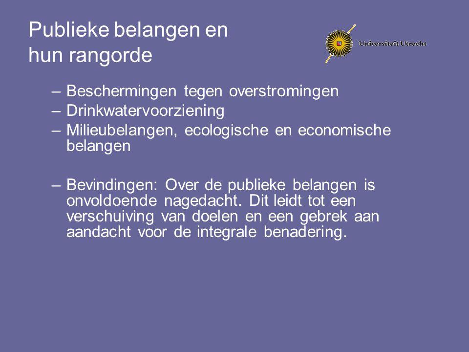 Publieke belangen en hun rangorde –Beschermingen tegen overstromingen –Drinkwatervoorziening –Milieubelangen, ecologische en economische belangen –Bev