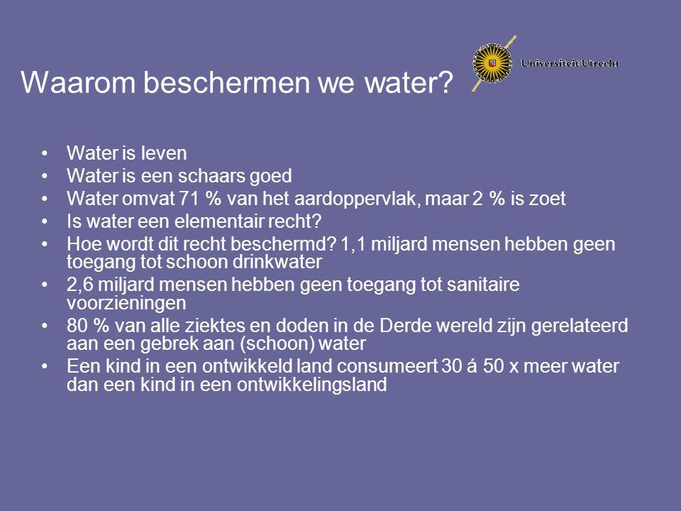 Europees waterrecht 'Golven' van regelgeving: Regulering van lozingen in grond- en oppervlaktewater Kwaliteitseisen voor wateren met een bepaalde functie (zwemwater blijft bestaan) Regulering van specifieke bronnen: stedelijk afvalwater & Nitraatverontreiniging door de landbouw Integrale regulering voor verontreiniging vanuit grote industriele installaties (IPPC)