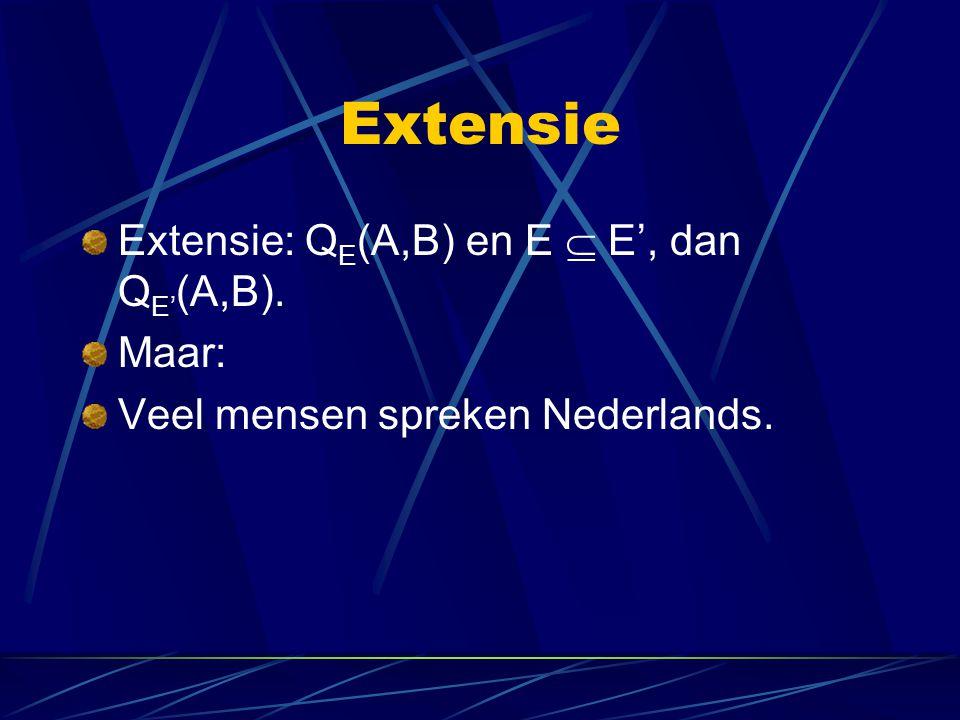 Extensie Extensie: Q E (A,B) en E  E', dan Q E' (A,B). Maar: Veel mensen spreken Nederlands.