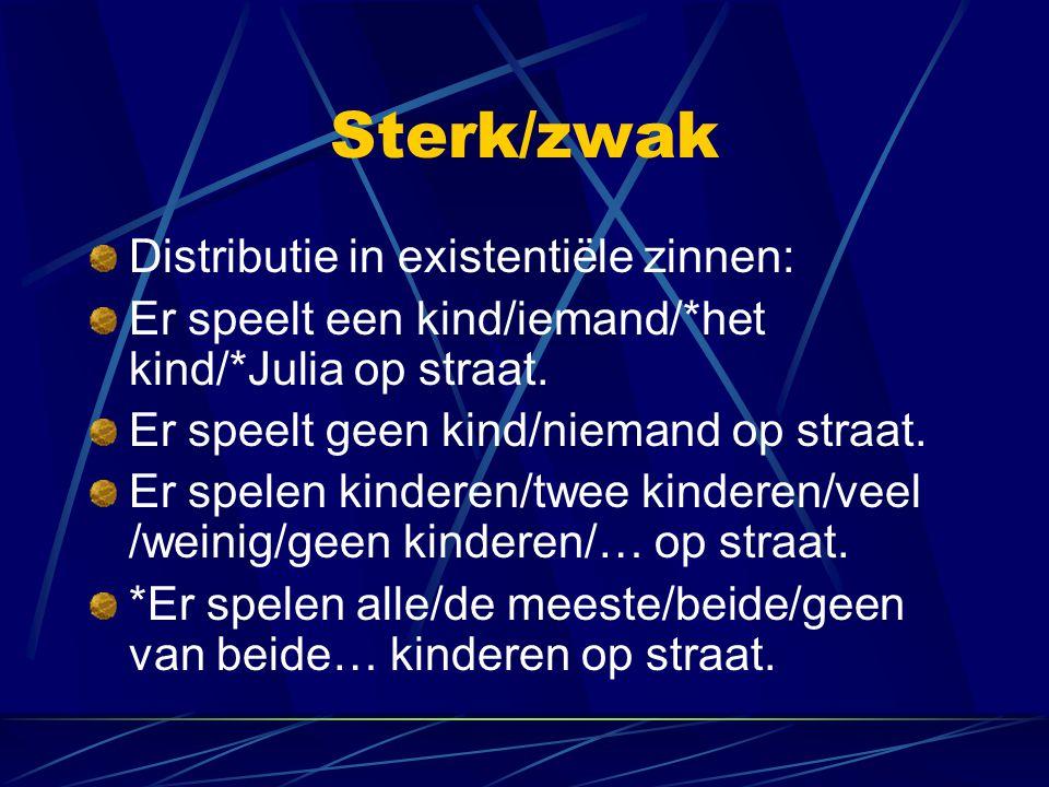 Sterk/zwak Distributie in existentiële zinnen: Er speelt een kind/iemand/*het kind/*Julia op straat. Er speelt geen kind/niemand op straat. Er spelen