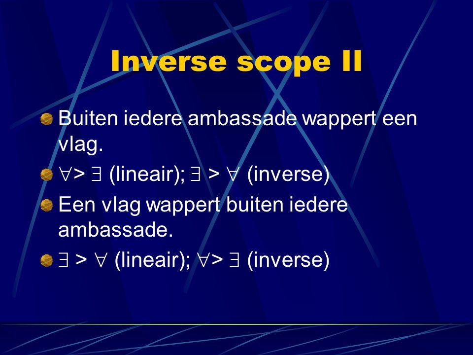 Inverse scope II Buiten iedere ambassade wappert een vlag.  >  (lineair);  >  (inverse) Een vlag wappert buiten iedere ambassade.  >  (lineair);