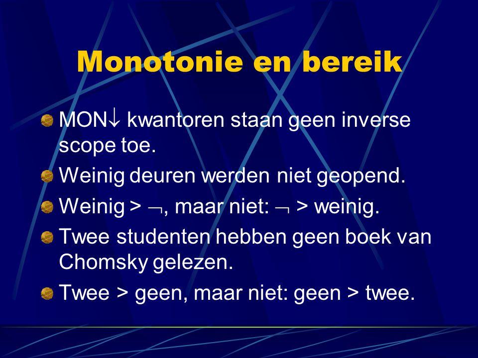 Monotonie en bereik MON  kwantoren staan geen inverse scope toe. Weinig deuren werden niet geopend. Weinig > , maar niet:  > weinig. Twee studenten
