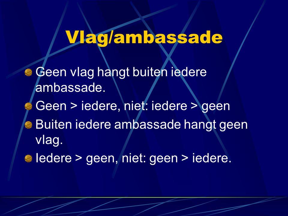 Vlag/ambassade Geen vlag hangt buiten iedere ambassade. Geen > iedere, niet: iedere > geen Buiten iedere ambassade hangt geen vlag. Iedere > geen, nie