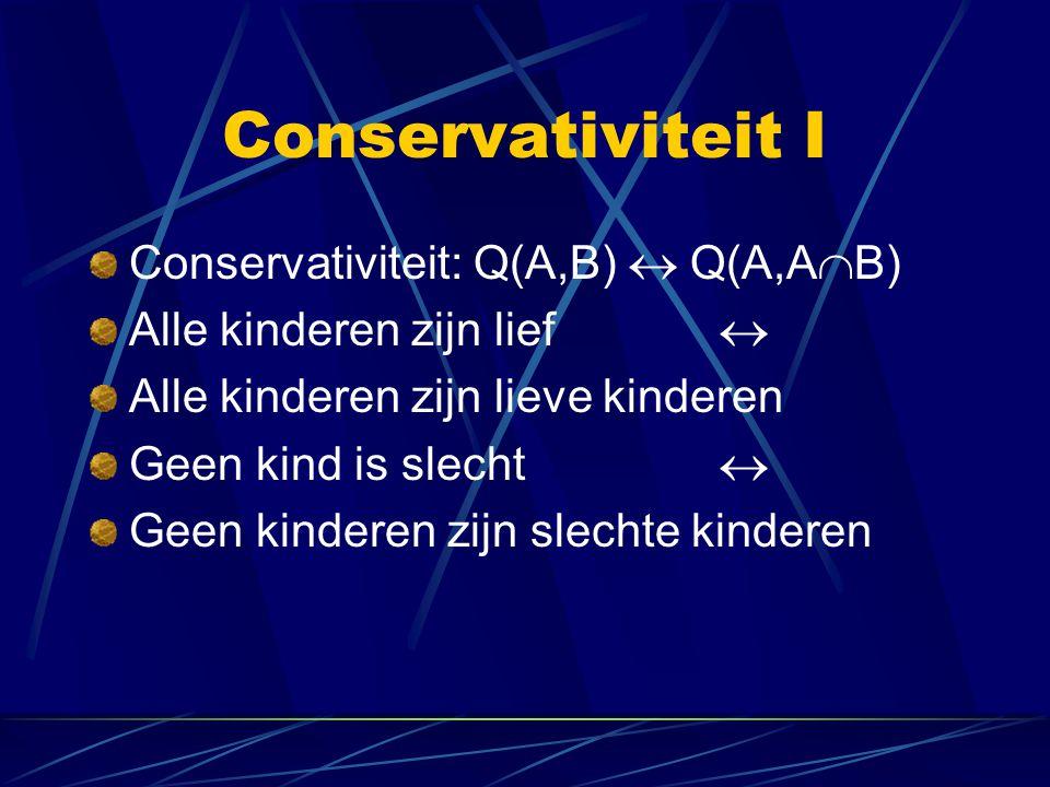 Conservativiteit I Conservativiteit: Q(A,B)  Q(A,A  B) Alle kinderen zijn lief  Alle kinderen zijn lieve kinderen Geen kind is slecht  Geen kinder