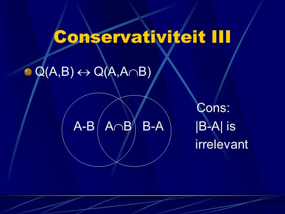 Conservativiteit III Q(A,B)  Q(A,A  B) Cons: A-B A  B B-A|B-A| is irrelevant