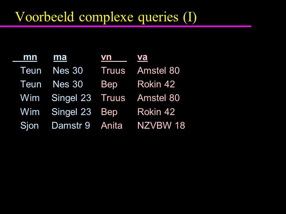 Voorbeeld complexe queries (I) mn ma vn va Teun Nes 30 Truus Amstel 80 Teun Nes 30 Bep Rokin 42 Wim Singel 23 Truus Amstel 80 Wim Singel 23 Bep Rokin 42 Sjon Damstr 9 Anita NZVBW 18