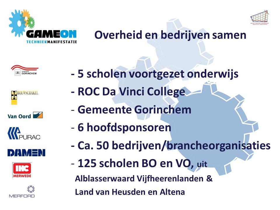 Overheid en bedrijven samen - 5 scholen voortgezet onderwijs - ROC Da Vinci College - Gemeente Gorinchem - 6 hoofdsponsoren - Ca.