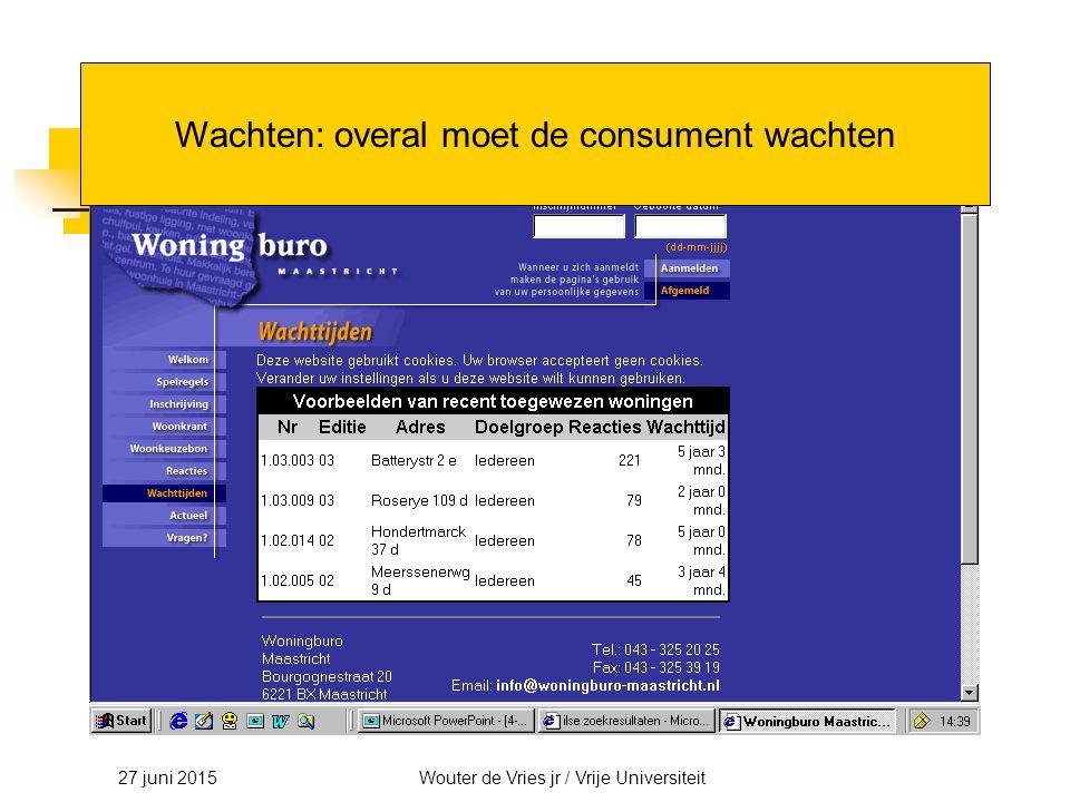 27 juni 2015Wouter de Vries jr / Vrije Universiteit Wachten: overal moet de consument wachten