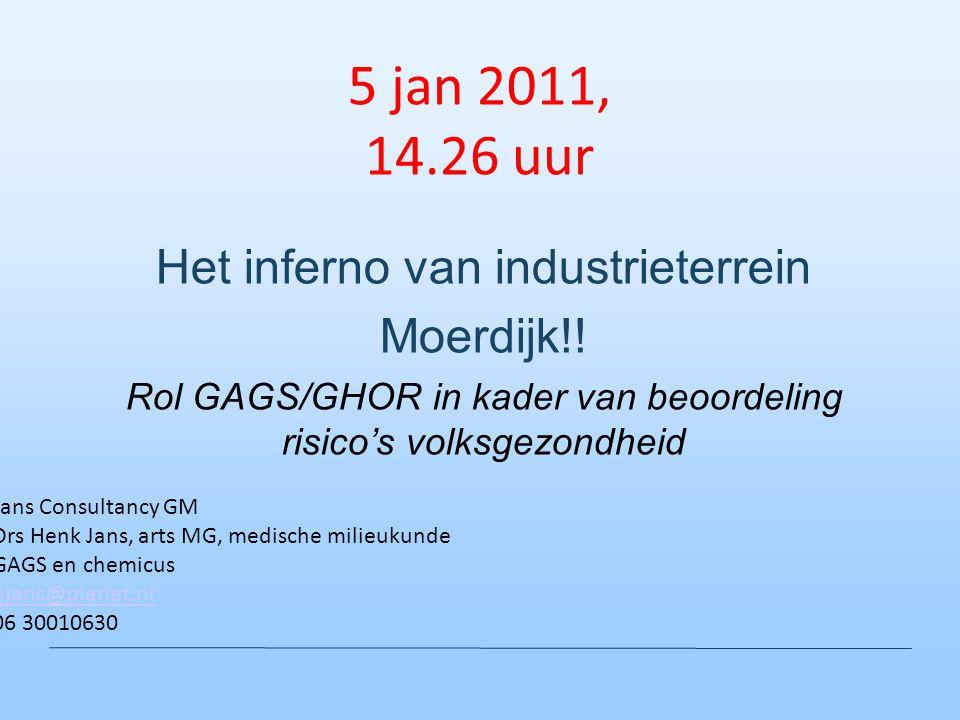 5 jan 2011, 14.26 uur Het inferno van industrieterrein Moerdijk!! Rol GAGS/GHOR in kader van beoordeling risico's volksgezondheid Jans Consultancy GM