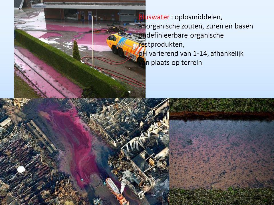 Bluswater : oplosmiddelen, anorganische zouten, zuren en basen ondefinieerbare organische restprodukten, pH varierend van 1-14, afhankelijk van plaats