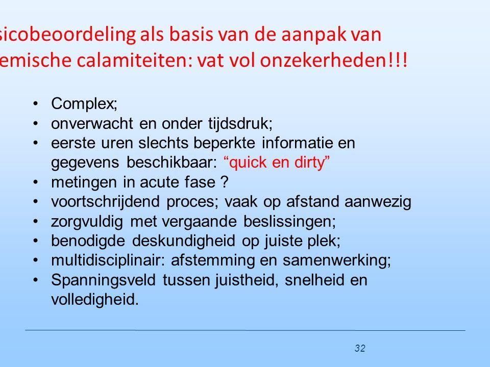 Risicobeoordeling als basis van de aanpak van chemische calamiteiten: vat vol onzekerheden!!! Complex; onverwacht en onder tijdsdruk; eerste uren slec