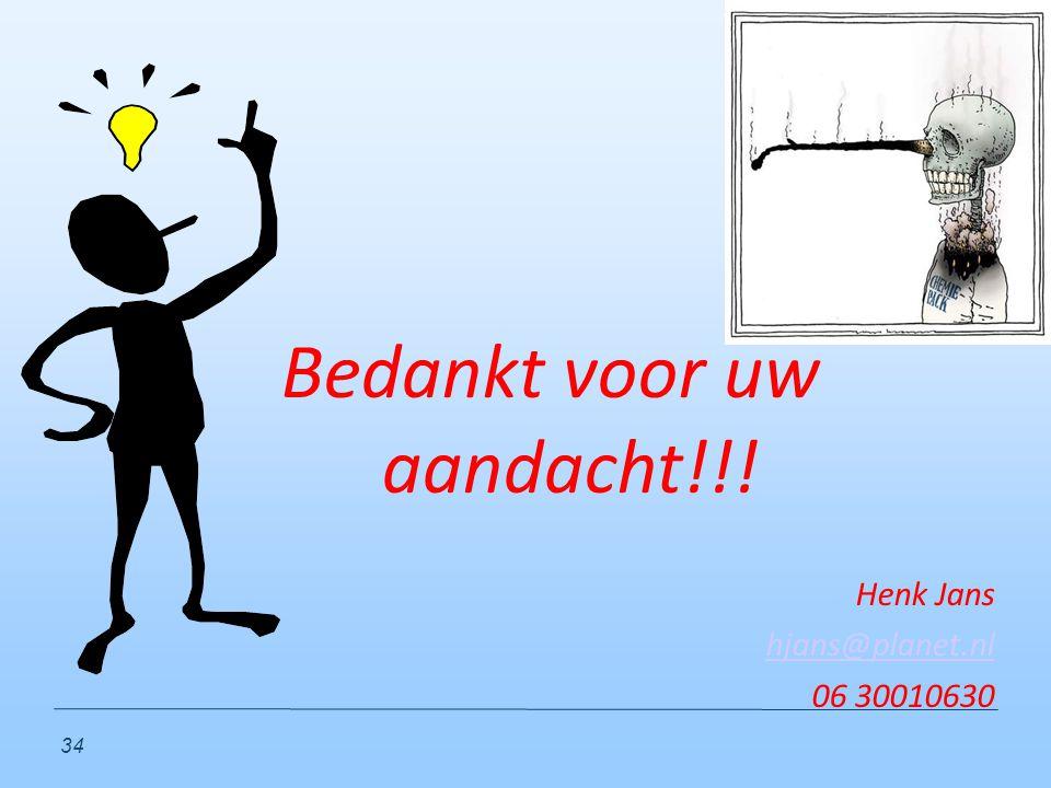 34 Bedankt voor uw aandacht!!! Henk Jans hjans@planet.nl 06 30010630