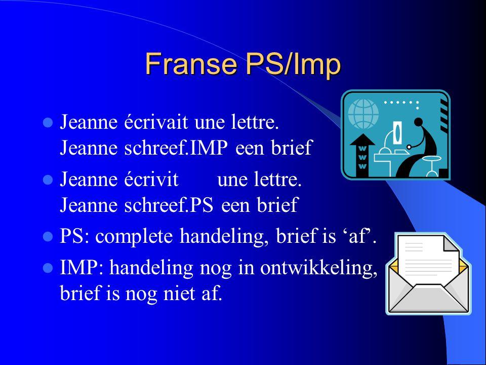 Franse PS/Imp Jeanne écrivait une lettre. Jeanne schreef.IMP een brief Jeanne écrivit une lettre. Jeanne schreef.PS een brief PS: complete handeling,