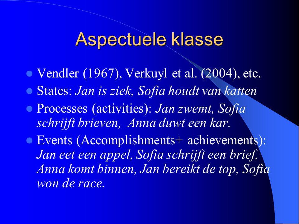 Aspectuele klasse Vendler (1967), Verkuyl et al. (2004), etc. States: Jan is ziek, Sofia houdt van katten Processes (activities): Jan zwemt, Sofia sch
