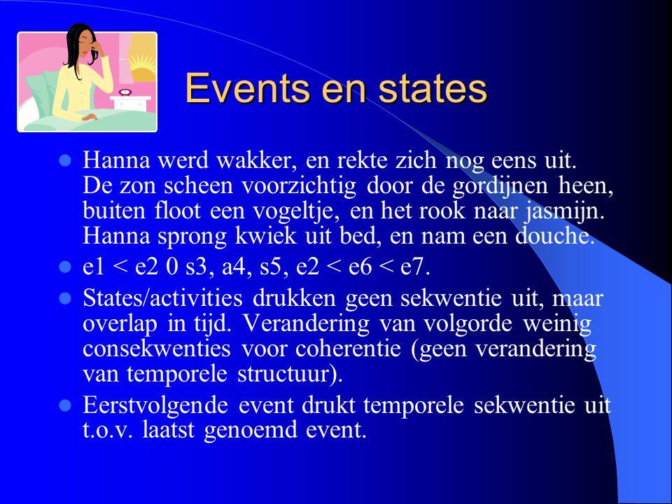 Events en states Hanna werd wakker, en rekte zich nog eens uit. De zon scheen voorzichtig door de gordijnen heen, buiten floot een vogeltje, en het ro