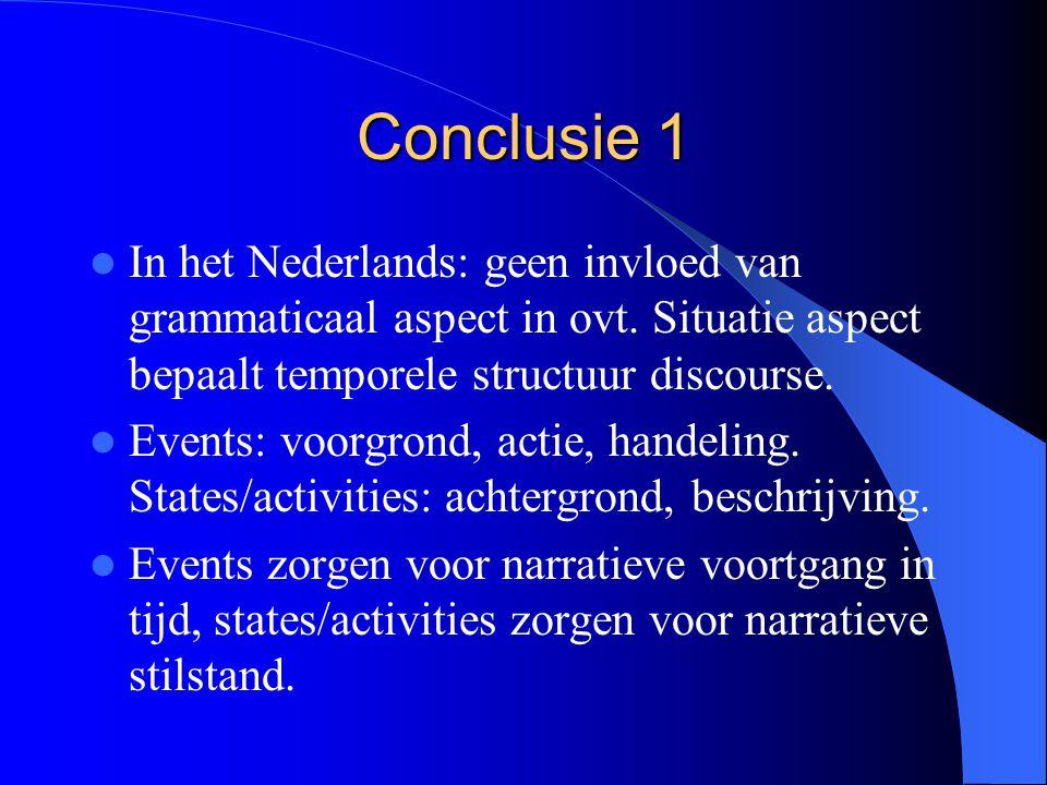 Conclusie 1 In het Nederlands: geen invloed van grammaticaal aspect in ovt. Situatie aspect bepaalt temporele structuur discourse. Events: voorgrond,