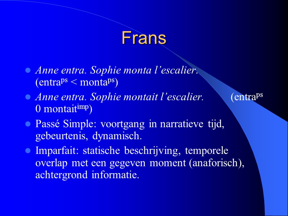 Frans Anne entra. Sophie monta l'escalier. (entra ps < monta ps ) Anne entra. Sophie montait l'escalier. (entra ps 0 montait imp ) Passé Simple: voort