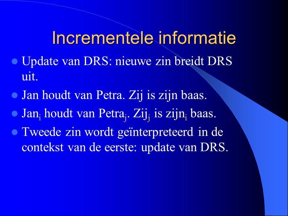 Incrementele informatie Update van DRS: nieuwe zin breidt DRS uit. Jan houdt van Petra. Zij is zijn baas. Jan i houdt van Petra j. Zij j is zijn i baa