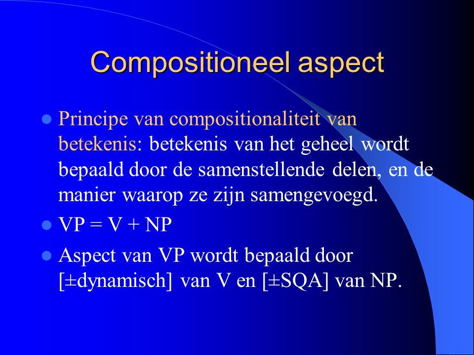 Compositioneel aspect Principe van compositionaliteit van betekenis: betekenis van het geheel wordt bepaald door de samenstellende delen, en de manier