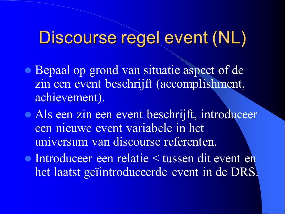 Discourse regel event (NL) Bepaal op grond van situatie aspect of de zin een event beschrijft (accomplishment, achievement). Als een zin een event bes