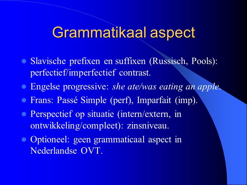 Grammatikaal aspect Slavische prefixen en suffixen (Russisch, Pools): perfectief/imperfectief contrast. Engelse progressive: she ate/was eating an app