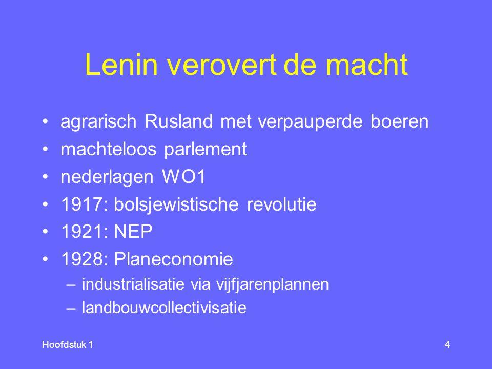 Hoofdstuk 14 Lenin verovert de macht agrarisch Rusland met verpauperde boeren machteloos parlement nederlagen WO1 1917: bolsjewistische revolutie 1921: NEP 1928: Planeconomie –industrialisatie via vijfjarenplannen –landbouwcollectivisatie