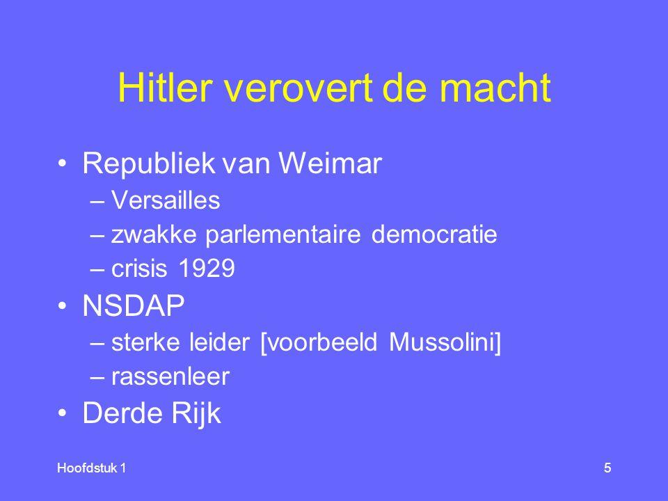 Hoofdstuk 15 Hitler verovert de macht Republiek van Weimar –Versailles –zwakke parlementaire democratie –crisis 1929 NSDAP –sterke leider [voorbeeld Mussolini] –rassenleer Derde Rijk