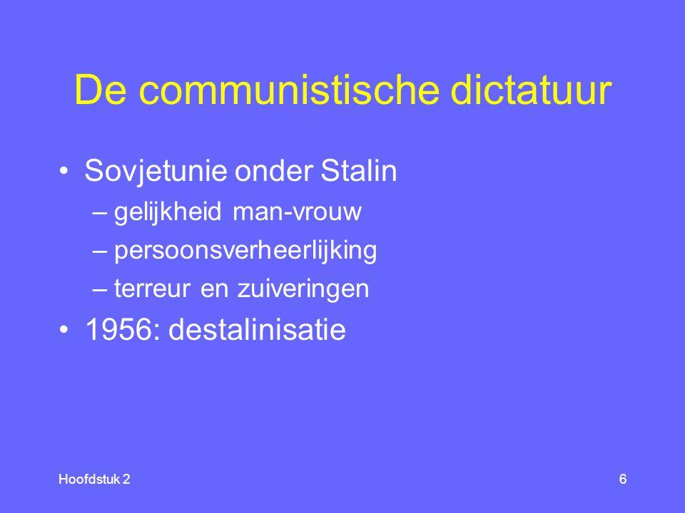 Hoofdstuk 26 De communistische dictatuur Sovjetunie onder Stalin –gelijkheid man-vrouw –persoonsverheerlijking –terreur en zuiveringen 1956: destalinisatie