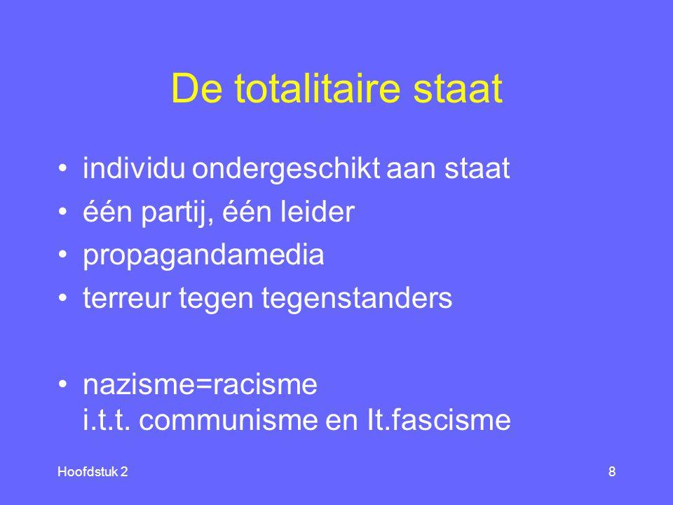 Hoofdstuk 28 De totalitaire staat individu ondergeschikt aan staat één partij, één leider propagandamedia terreur tegen tegenstanders nazisme=racisme i.t.t.