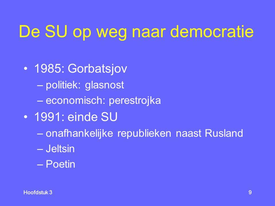 Hoofdstuk 39 De SU op weg naar democratie 1985: Gorbatsjov –politiek: glasnost –economisch: perestrojka 1991: einde SU –onafhankelijke republieken naast Rusland –Jeltsin –Poetin