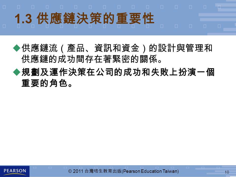 10 © 2011 台灣培生教育出版 (Pearson Education Taiwan) 1.3 供應鏈決策的重要性  供應鏈流(產品、資訊和資金)的設計與管理和 供應鏈的成功間存在著緊密的關係。  規劃及運作決策在公司的成功和失敗上扮演一個 重要的角色。