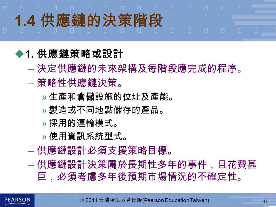 11 © 2011 台灣培生教育出版 (Pearson Education Taiwan) 1.4 供應鏈的決策階段 u1. 供應鏈策略或設計 – 決定供應鏈的未來架構及每階段應完成的程序。 – 策略性供應鏈決策。 » 生產和倉儲設施的位址及產能。 » 製造或不同地點儲存的產品。 » 採用的運輸模式