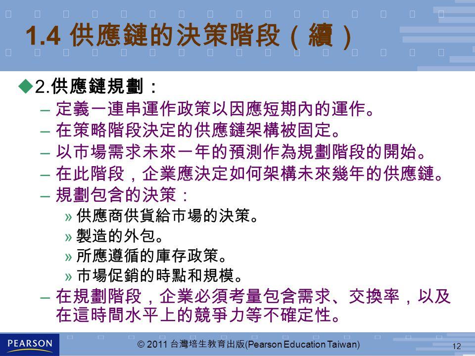 12 © 2011 台灣培生教育出版 (Pearson Education Taiwan) 1.4 供應鏈的決策階段(續) u2. 供應鏈規劃: – 定義一連串運作政策以因應短期內的運作。 – 在策略階段決定的供應鏈架構被固定。 – 以市場需求未來一年的預測作為規劃階段的開始。 – 在此階段,企業應