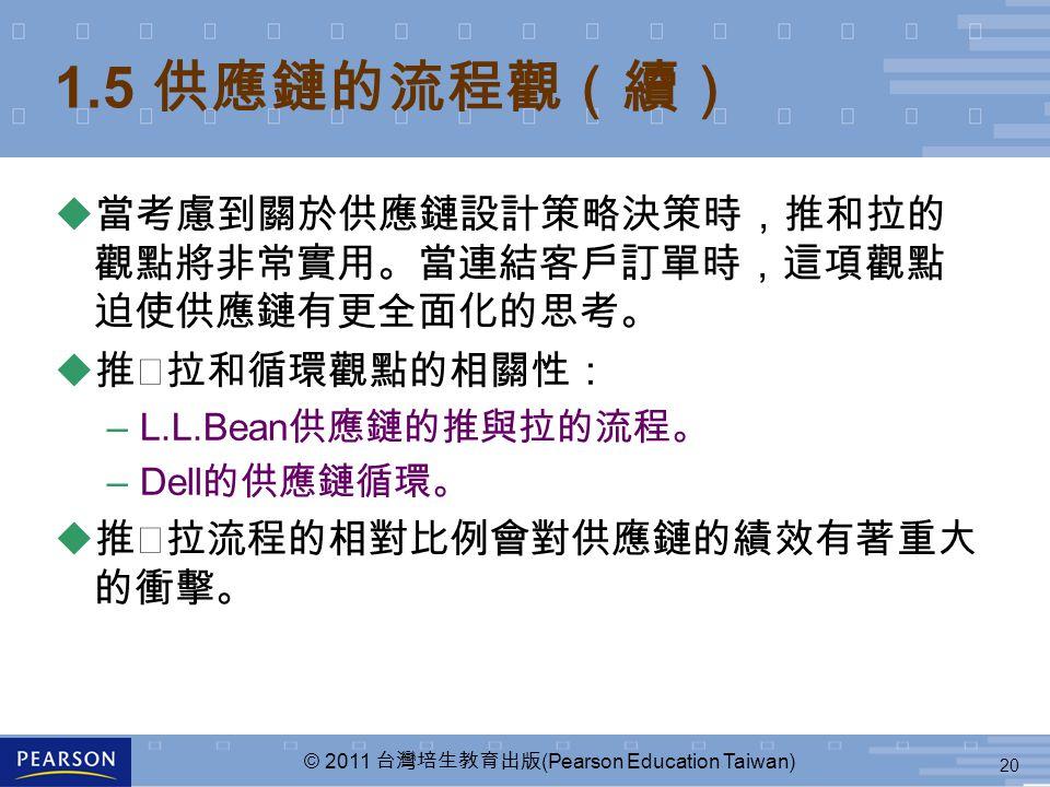 20 © 2011 台灣培生教育出版 (Pearson Education Taiwan) u 當考慮到關於供應鏈設計策略決策時,推和拉的 觀點將非常實用。當連結客戶訂單時,這項觀點 迫使供應鏈有更全面化的思考。 u 推╱拉和循環觀點的相關性: –L.L.Bean 供應鏈的推與拉的流程。 –Dell 的供應鏈循環。 u 推╱拉流程的相對比例會對供應鏈的績效有著重大 的衝擊。 1.5 供應鏈的流程觀(續)