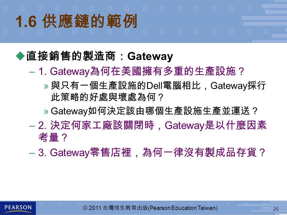 25 © 2011 台灣培生教育出版 (Pearson Education Taiwan) 1.6 供應鏈的範例 u 直接銷售的製造商: Gateway –1.