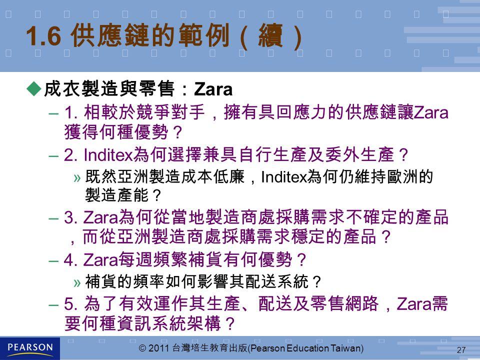 27 © 2011 台灣培生教育出版 (Pearson Education Taiwan) 1.6 供應鏈的範例(續) u 成衣製造與零售: Zara –1. 相較於競爭對手,擁有具回應力的供應鏈讓 Zara 獲得何種優勢? –2. Inditex 為何選擇兼具自行生產及委外生產? » 既然亞洲製造