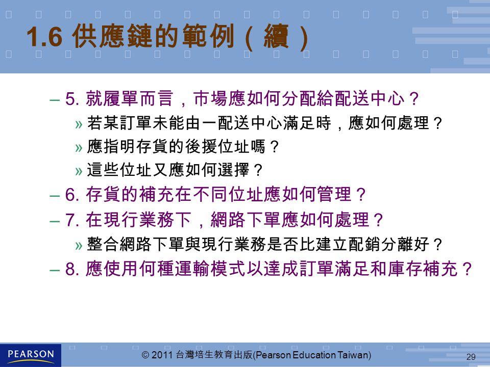 29 © 2011 台灣培生教育出版 (Pearson Education Taiwan) 1.6 供應鏈的範例(續) –5. 就履單而言,市場應如何分配給配送中心? » 若某訂單未能由一配送中心滿足時,應如何處理? » 應指明存貨的後援位址嗎? » 這些位址又應如何選擇? –6. 存貨的補充在不同