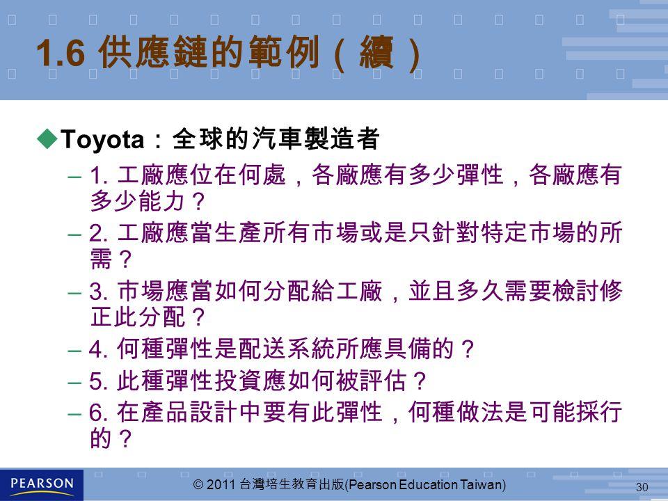 30 © 2011 台灣培生教育出版 (Pearson Education Taiwan) 1.6 供應鏈的範例(續) uToyota :全球的汽車製造者 –1. 工廠應位在何處,各廠應有多少彈性,各廠應有 多少能力? –2. 工廠應當生產所有市場或是只針對特定市場的所 需? –3. 市場應當如何分