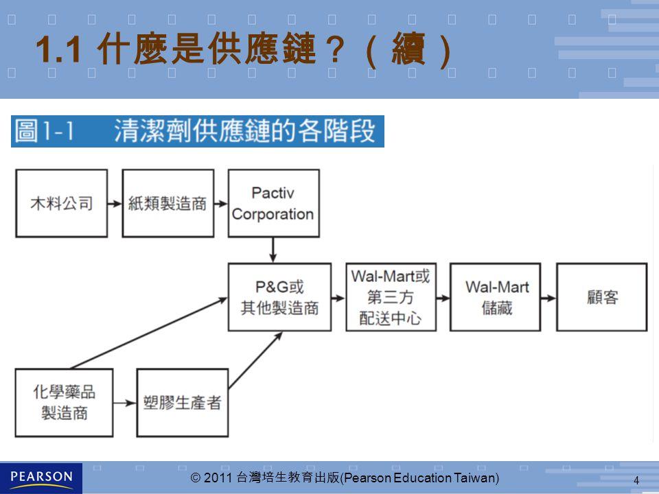 4 © 2011 台灣培生教育出版 (Pearson Education Taiwan) 1.1 什麼是供應鏈?(續)